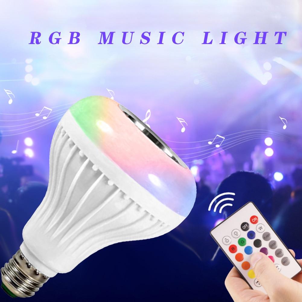 LED Smart Light Bulb RGBW E27 Bluetooth Music Player Bulb Remote Control Lights Vintage Cover Bulb Guard Lamp Pendant
