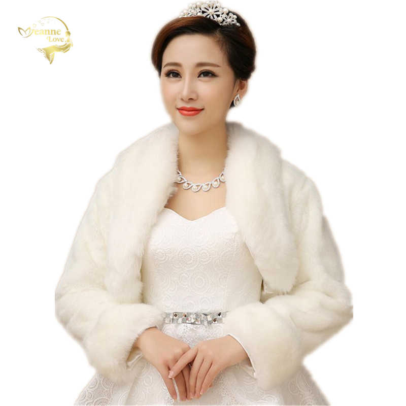 New Bolero Women Faux Fur Stoles Long Sleeve High Quality Fur Bolero Coat Bridal Capes Winter Wedding Jacket Fur Bolero OJ00192