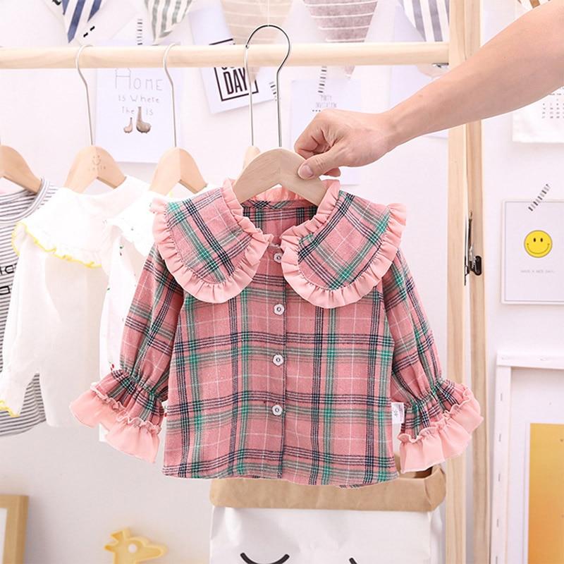 1-5T Girls Pink Blouse Shirt Spring Autumn Baby Girls Plaid Children Tops Bottoming Shirt Long-Sleeve Kids Girls Shirt Clothing 1