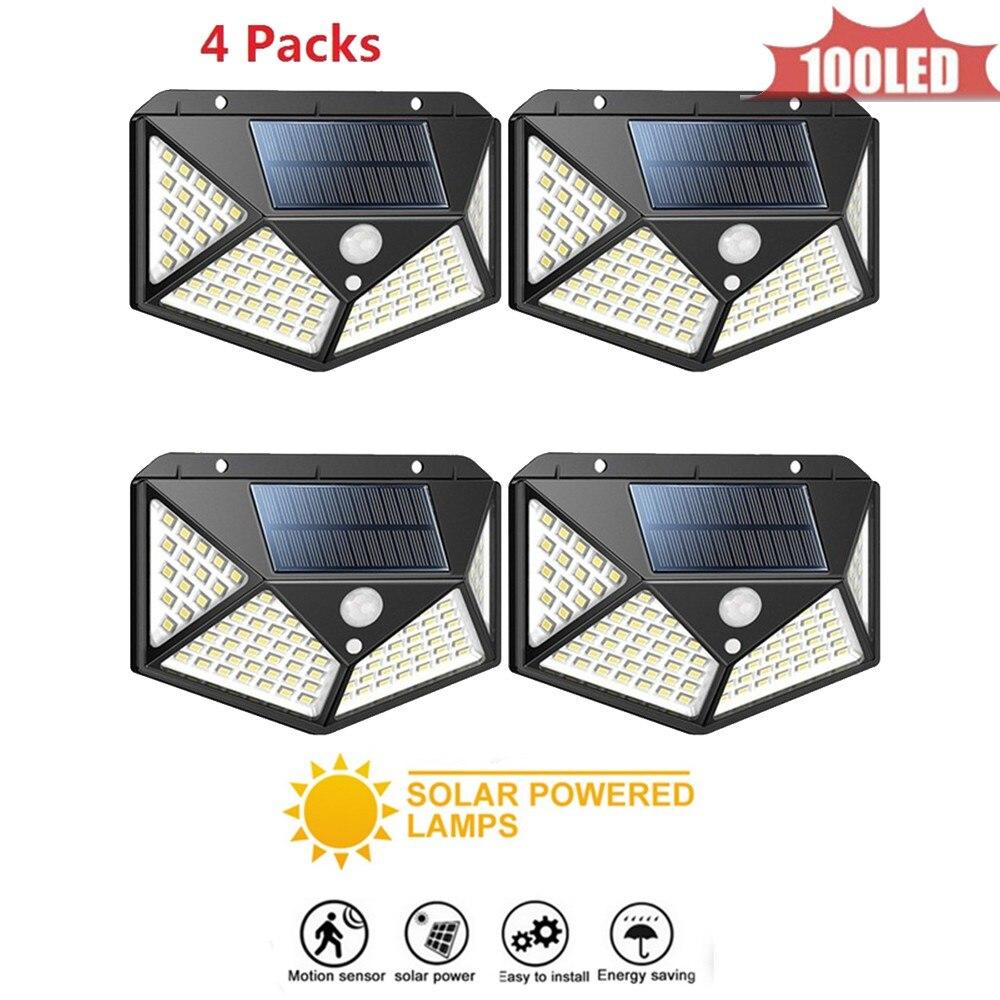 LED Solar Lamp Outdoor Waterproof 100 LED Garden Solar Light Motion Sensor PIR 3 Modes 4 Sided Garden Street Wall Lighting Lamps