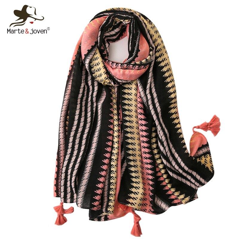 Marte&Joven Classic Striped Tassel Multicolor Scarf For Women Elegant Big Size Sunscreen Pashmina Wrap Lady Spring Warm Scarves