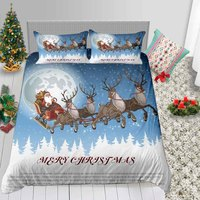 Fashion Bedding Set White Red Blue with Santa Claus Merry Christmas Gift for with Deer Snowman Pillowcase of Bed Cover Suit