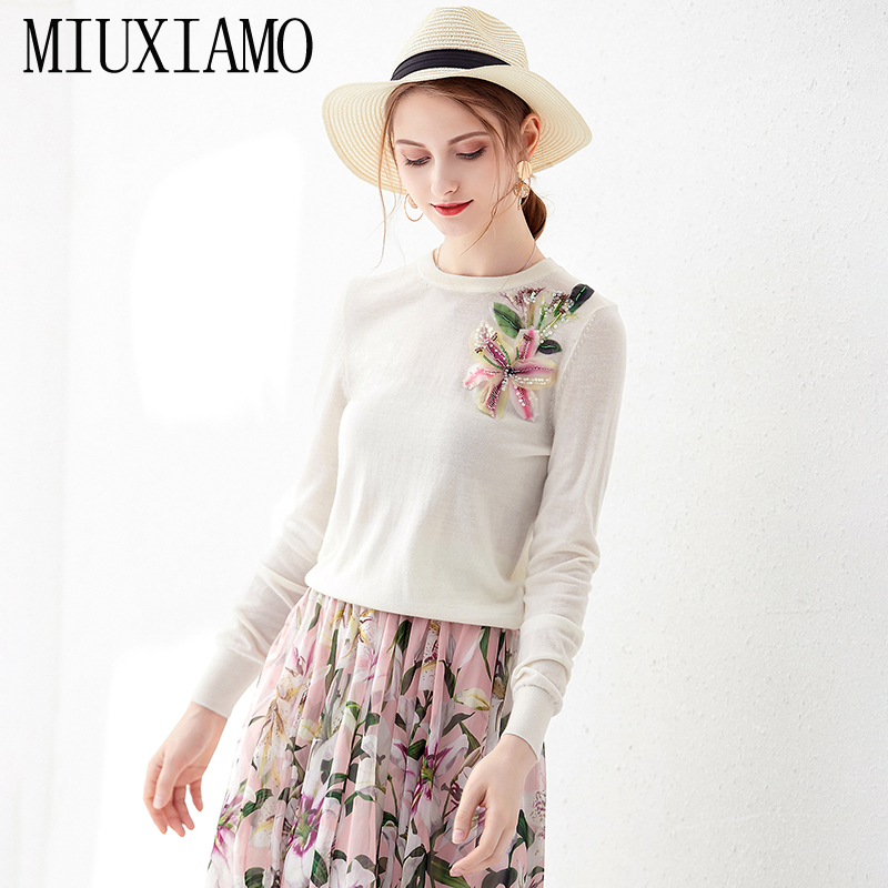 MIUXIMAO 2019 Fall New Arrival Europe Fashion Casual Long Sleeve O-Neck Shirt Daimonds Elegant Best Quality Tops Women