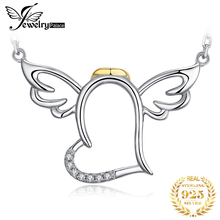 JewelryPalace Angel Wings Heart Silver Pendant Necklace 925 Sterling Silver Chain Choker Statement Collar Necklace Women 45cm jewelrypalace dog paw cz sterling silver pendant necklace 925 sterling silver chain choker statement collar necklace women 45cm