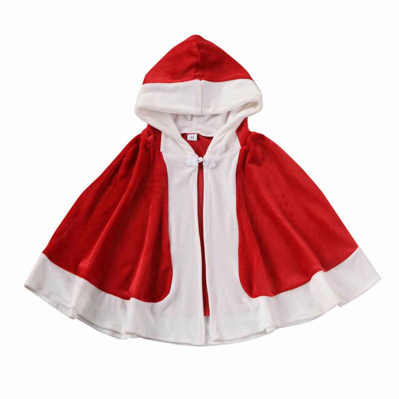 คริสต์มาสเด็กสาว Hooded Cape Coat FUR Cloak PARTY เครื่องแต่งกาย Hoodies โพลีเอสเตอร์กำมะหยี่แฟชั่นฤดูใบไม้ผลิฤดูใบไม้ร่วงฤดูหนาววันหยุด