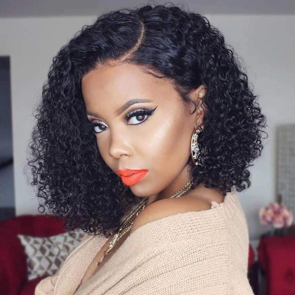 180% bob Curly 4*4 Silk Base Wigs Pre Plucked With Baby Hair Brazilian Remy Hair 13x4 Lace Front Human Hair Wigs For Black Woman