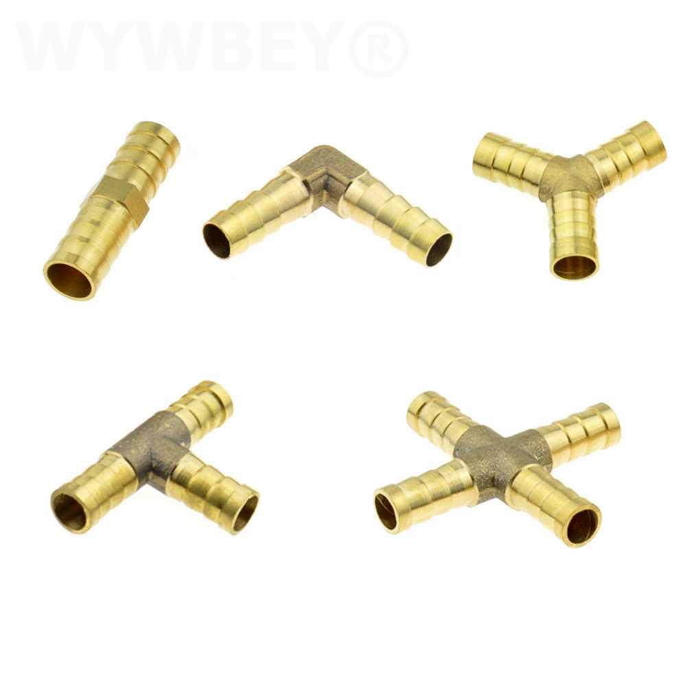 황동 Splicer 바브 파이프 피팅 스트레이트 팔꿈치 Y T 모양 2 3 4 웨이 4mm 6mm 8mm 10mm 12mm 바브 테일 공압 워터 튜브 피팅