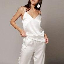 HECHAN White Black Satin Sexy Pajamas Women V Neck Spaghetti Strap Loose Pants Intimate Lingerie Female Set Homewear Casual