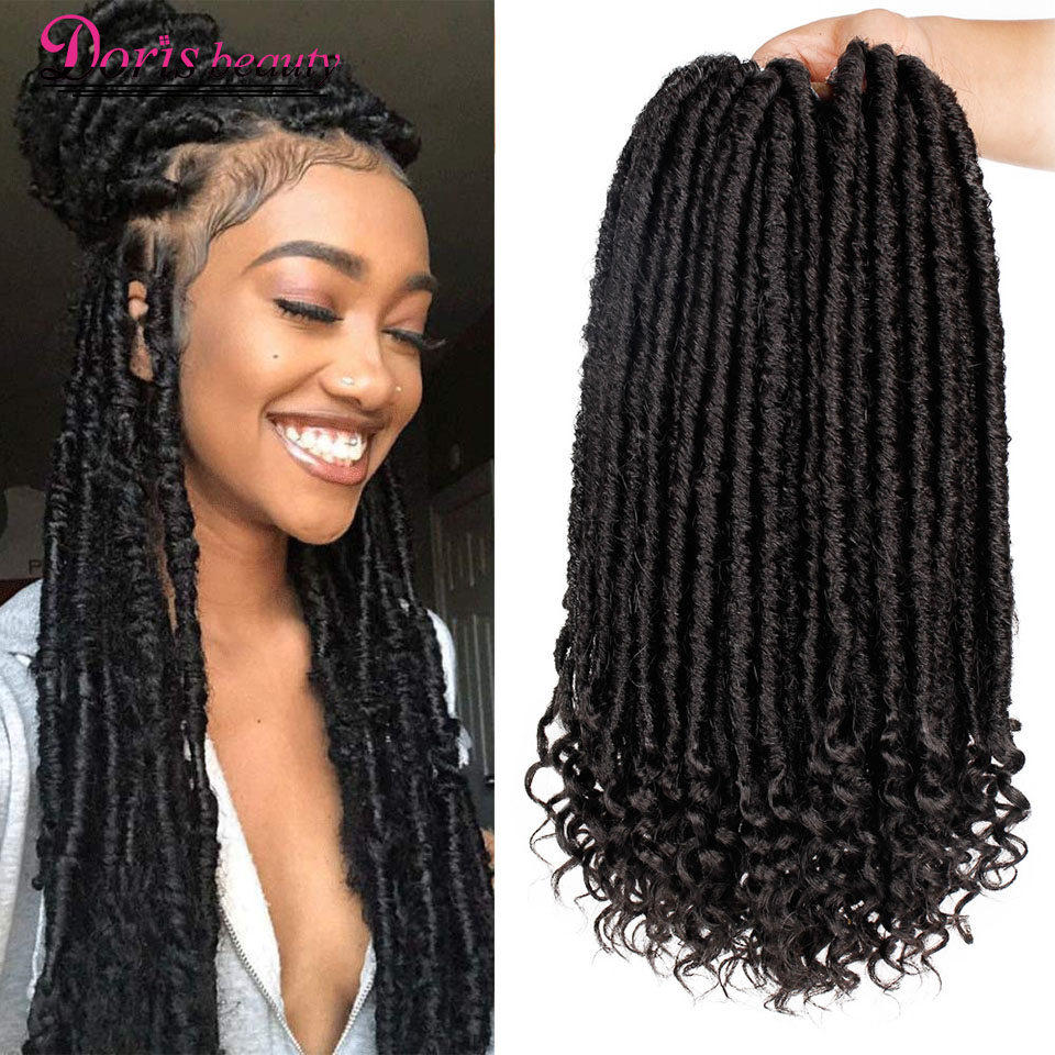 Doris Beauty 16&20 Inch Goddess Faux Locs Crochet Hair Soft End Natural Synthetic Braids Brown Extension For Women Locks