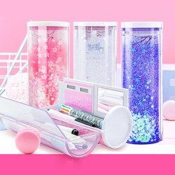 Przezroczyste cylindryczne piórniki o dużej pojemności obsadka do pióra z kalkulatorem lustrzanym dla chłopców dziewcząt szkolne artykuły papiernicze