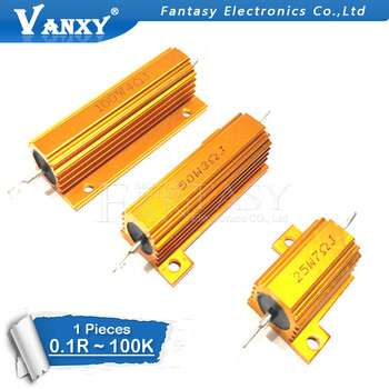 цена на 1PCS 25W 50W 100W Aluminum Power Metal Shell Case Wirewound Resistor 0.01 - 100K 0.05 0.1 0.5 1 2 6 8 10 20 200 500 1K 10K ohm