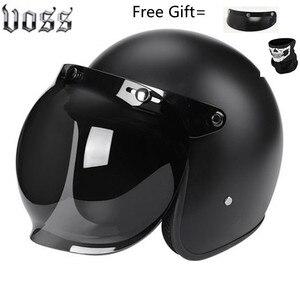 Image 2 - Fashion brand VOSS vintage motorcycle helmets matte black captain america Goggles Retro Vintage Style DOT