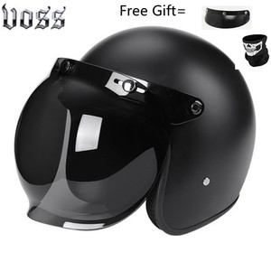 Image 2 - Moda marka VOSS vintage motosiklet kaskları mat siyah kaptan amerika gözlük Retro Vintage stil nokta