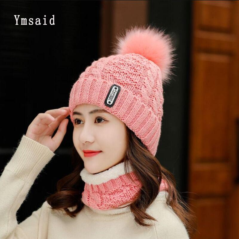 High Huality Winter Knitted Hats Women Thick Warm Beanie Skullies Hat Female Knit Letter Bonnet Beanie Caps Outdoor Riding Sets