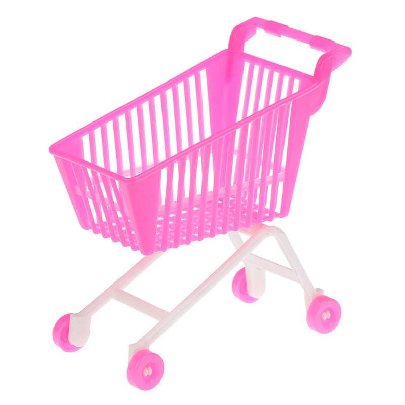 سوبر ماركت صغير عربة اليد التسوق عربة خدمات وضع تخزين لعبة إكسسوارات دمي هدايا للأطفال وردي أبيض لون عشوائي