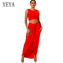 YEYA New Summer Women Bodycon Bandage Sets Vestidos 2 Two Pieces Sleevelesss Hollow Out Irregular Maxi Dress Casual
