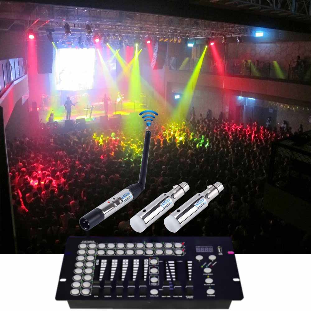 DMX512 Wireless Transmitter Receiver With Battery Control 400m DMX Stage Light Effect DJ Club Party 2.4G Rechargeable Controler