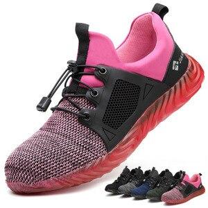 Image 1 - Ryder zapatos indestructibles con punta de acero para hombre y mujer, botas de seguridad antiperforación, transpirables, para trabajo