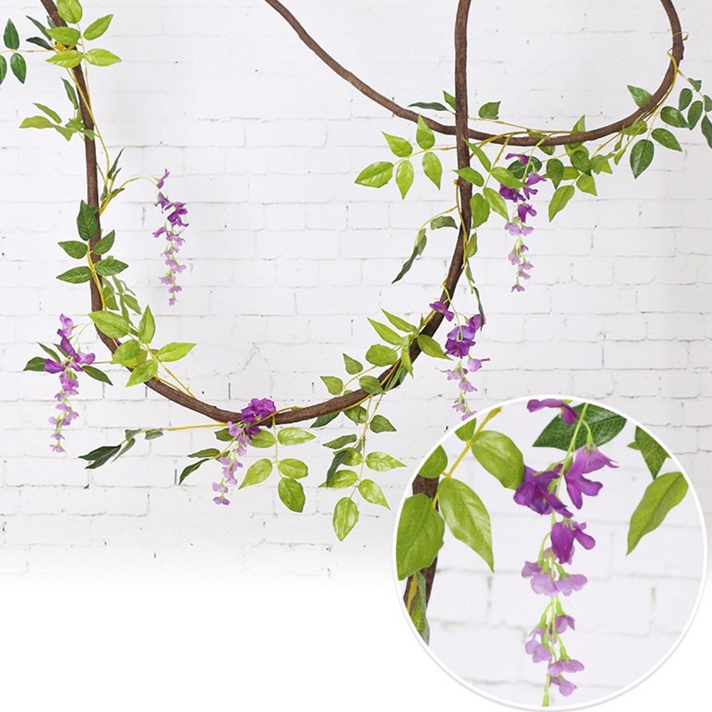 2M Flower String Artificial Wisteria Vine Garland Plants Foliage Wedding Arch Decoration Fake Flower Rattan Hanging Wall Decor 2