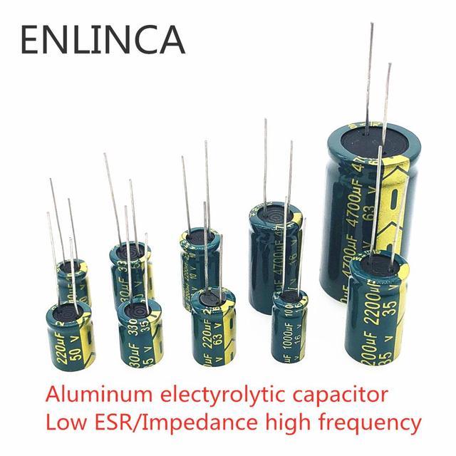 5-20pcs 10V 16V 25V 35V 50V Low ESR high frequency aluminum capacitor 47UF 100UF 220UF 330UF 470UF 680UF 1000UF 1500UF 2200UF 1