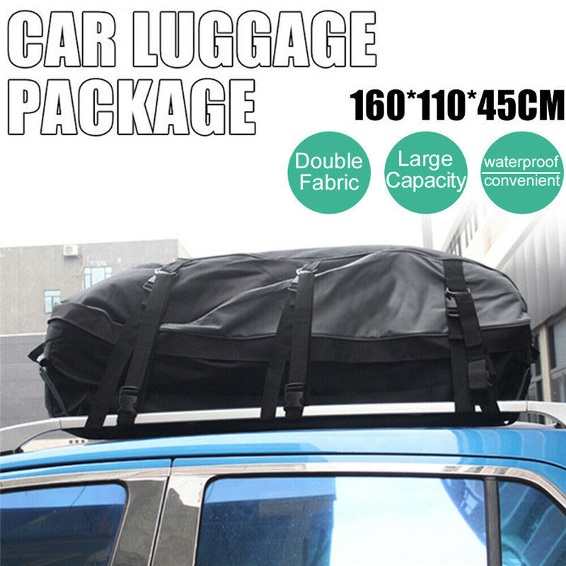 160x110x45cm Universal Waterproof Car Roof Top Rack Bag Cargo Carrier 600D Oxford Cloth Luggage Storage Travel SUV Van for Cars|Roof Racks & Boxes| |  - title=