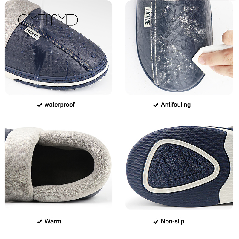 Home indoor slippers men 2019 fashion waterproof leather slippers plus size 6 14 male winter slippers zapatos de hombre in Slippers from Shoes