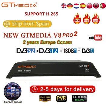 GTMedia V8 Pro2 DVB-T2/S2/Cable/S2X Satellite Receiver H.265 Built-in 2.4G WIFI with 2 Year Europe CCcam Free abroad IPTV TV box
