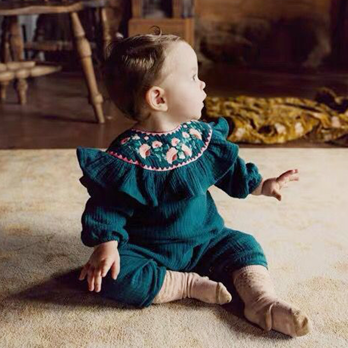 Baby Romper Vintage Newborn Kid Baby Boy Girl Solid Clothes Flower Long Sleeve Embroidery Ruffle Elastic Cuffs Jumpsuit Outfit