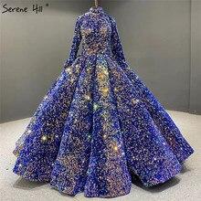 Dubai Indigo Blue Gold Luxury Wedding Dresses 2020 Sequined Long Sleeves Wedding Gowns Serene Hill HA2068 Custom Made
