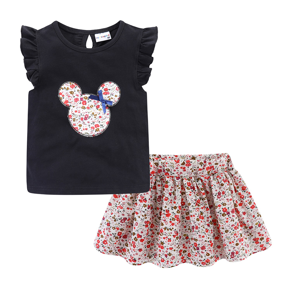 Mudkingdom Cute Girls Clothes Sets Floral 2Pcs Cartoon Kids Ruffle Sleeve Tank Top and Skirt Outfits Adorable 3