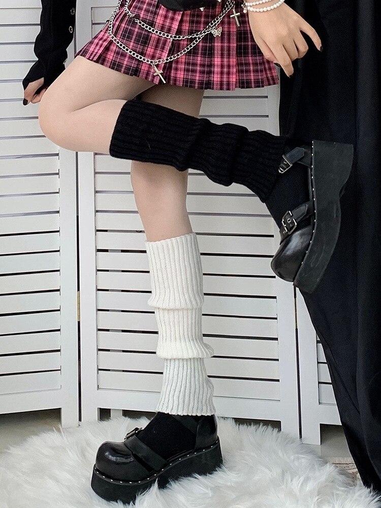 Lolita Leg Warmers Japanese Women Gothic Long Socks Women's Leggings Gaiters Knee Goth Socks Knitted Cuffs Ankle Boots Socks