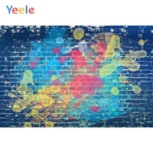 Yeele Graffiti Brick Wall Blue Colorful Pattern Child Baby Portrait Photo Backgrounds Custom Photography Backdrops Studio