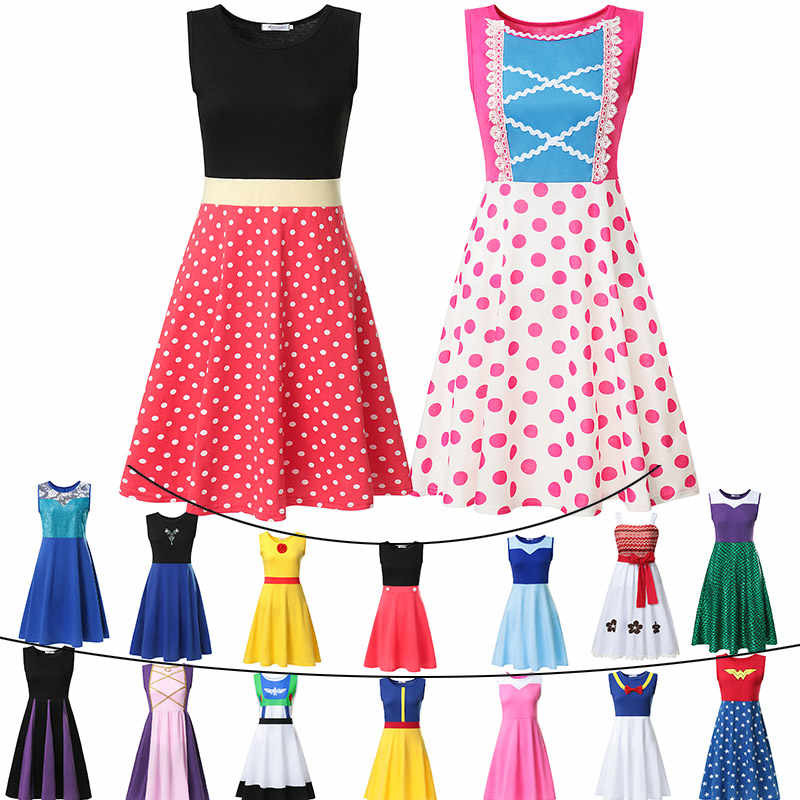 S-M-L-XL-XXL Princess Dress Adult Elsa Anna Belle Mommy Ariel Rapunzel Frocks Minnie Bo Peep Maleficent Role Play Party Clothing