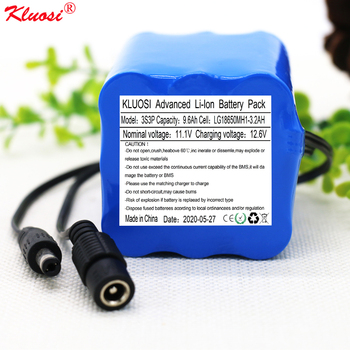 KLUOSI 12V 9.6Ah 3S3P 18650MH1 Battery Pack Portable Lithium with 25A Balanced BMS Electric Toy Car/CCTV Camera/Monitor Etc
