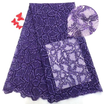 Unique New african net lace fabric with sequins Latest French Net Lace Fabric High quality ML8203