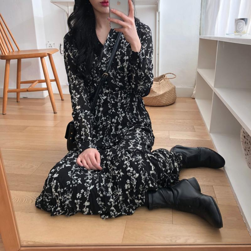 H565f3320b78b45e08d37d8c21acb9b32d - Autumn Korean V-Neck Long Sleeves Chiffon Floral Print Midi Dress