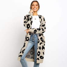 Leopard Print Cardigan Sweater Woman 2019Autumn Winter Casual Long Sleeve Loose Knit Sweater Long Cardigan Sweaters Pockets Coat цена 2017