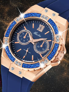 MISSFOX Women's Watches Diamond Rose-Gold Female Blue Ladies Chronograph Quartz Xfcs