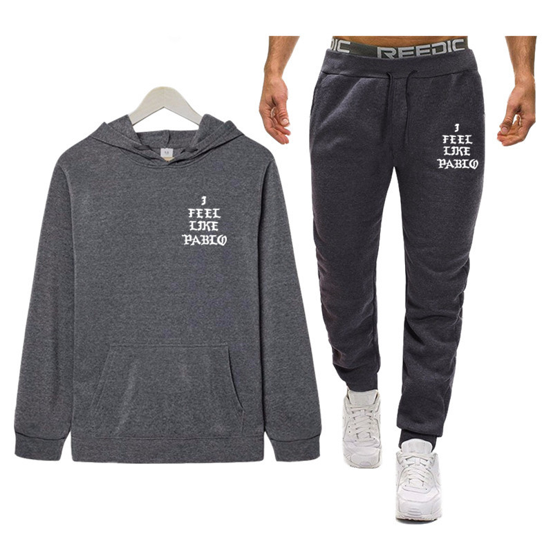 I Feel Like Paul Pablo Kanye Tracksuits Men Polyester Sweatshirt Fleece Hoodies + Pants Casual Men's Track Suit Sportswear 2020