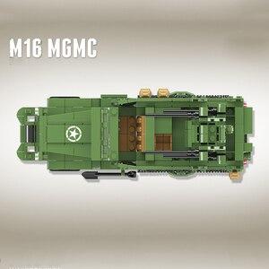 Image 4 - 518個啓発ミリタリー米国M16 mgmc WW2タンク車両モデル兵士ミニフィギュアビルディングブロックレンガのおもちゃ子供のギフト