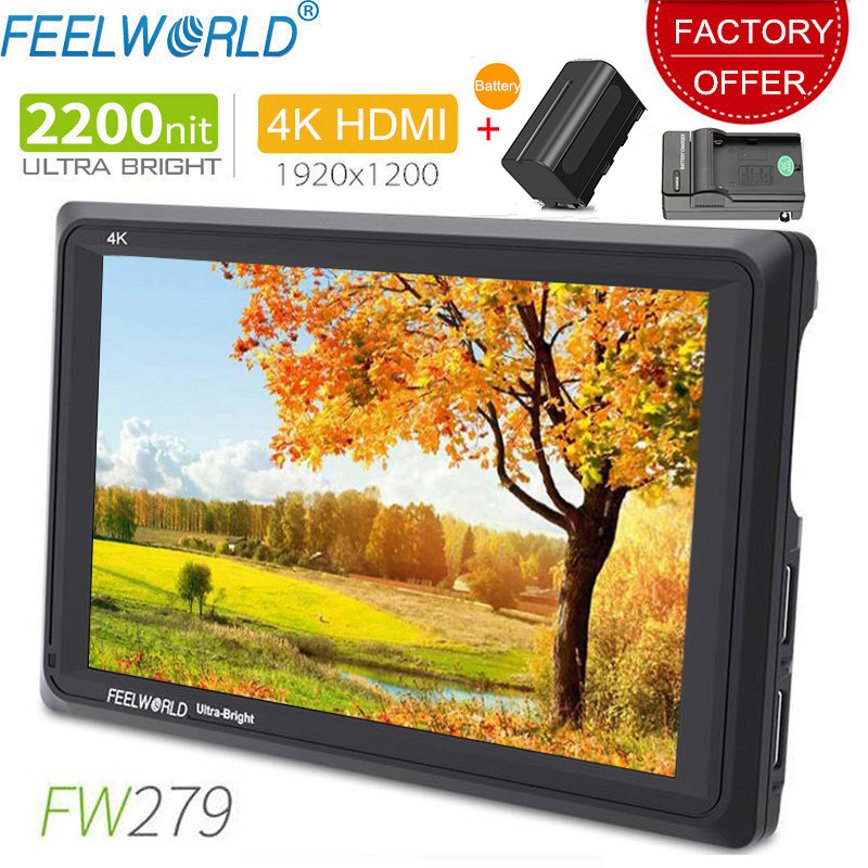 Feelworld FW279 7 Inch IPS 2200nits Camera Field Monitor 4K HDMI Input Output 1920X1200 LCD Monitor