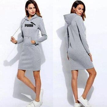 Automne hiver femme sweats à capuche sweat à manches longues robe mode pull à capuche cordon poche mince robes femmes vêtements 1