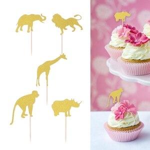 Image 3 - 10 adet bebek doğum günü pastası Topper Glitter Cupcake Toppers kek eklemek kart meyve tatlı dekor bebek duşları için doğum günü partisi