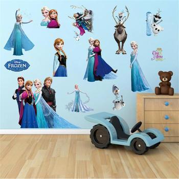 Cartoon Princess Elsa Wall Stickers for Kids Rooms Girls Bedroom Poster Vinyl DIY Mural Art Adesivo de parede Decal Baby Nursery 9