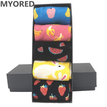 MYORED 5 pair/lot Men's funny crew socks smile pattern colorful fruit banana wat