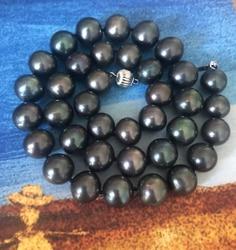 Wunderschöne 12-15mm tahitian runde black green pearl halskette 18inch