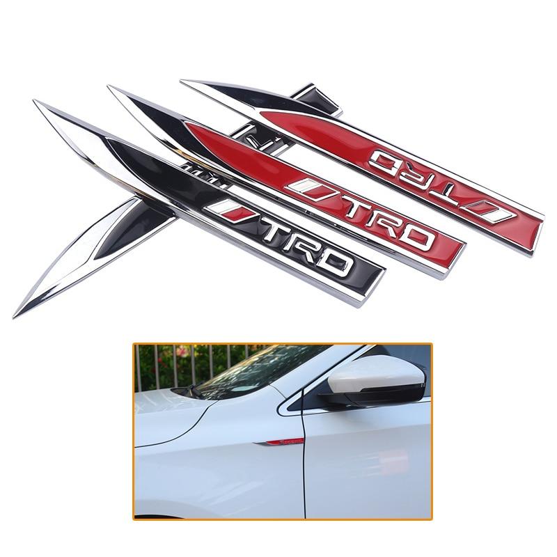 2pcs Car Styling 3D Zinc Alloy TRD Logo Fender Side Emblem Badge Body Decoration Decal Sticker For Toyota Auto Accessories
