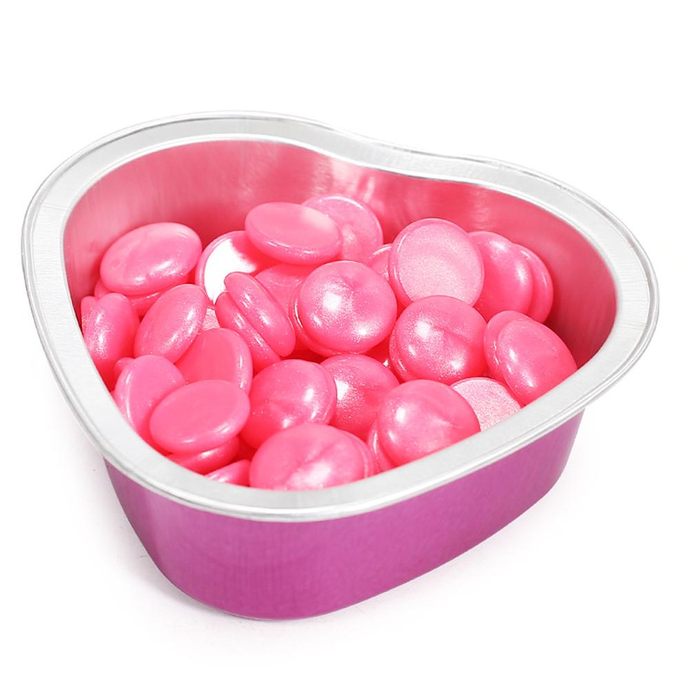 10pcs Pink Love Heart Shape Melting Wax Bowls Aluminum Foil Depilatory Hair Removal Bean Depilatory Cream Bowl Hair Removal Tool