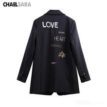 Женские винтажные блейзеры С Вышивкой Букв куртки для женщин