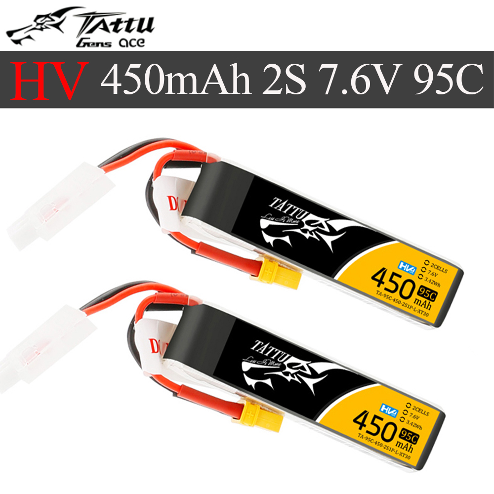 Tattu 450mAh 7.6V High Voltage 95C 2S1P Lipo Battery Pack With XT30 Plug - Long Pack